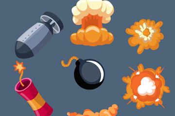7款��意炸��爆炸物矢量素材