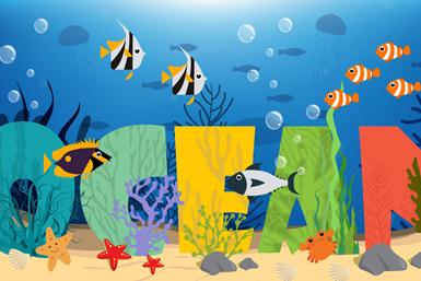 ��意海底海洋��g字矢量素材