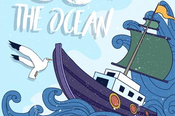 ��意海浪上的�O船矢量素材