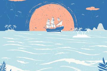 创意海上夕阳船舶风景矢量素材