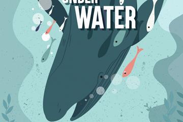 创意潜入海底的抹香鲸和鱼群矢量图