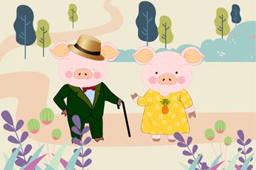 可爱猪夫妇设计矢量素材