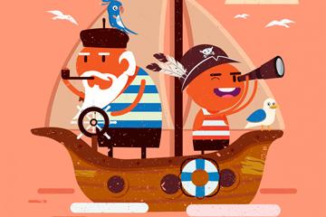 ��意船上的水手矢量素材