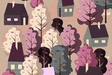 春季房屋树木风景矢量素材