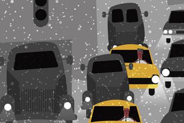 ��意雪中堵�的道路矢量素材