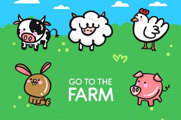 8款可爱农场动物矢量素材