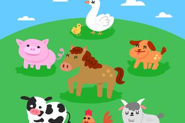 8款创意草地上的农场动物矢量图