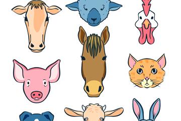 9款创意农场动物头像矢量素材