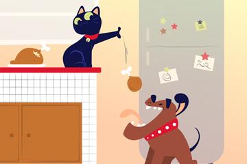可爱猫狗设计矢量素材