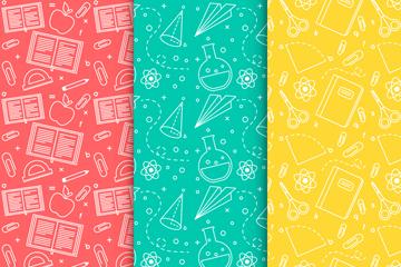 3款彩色文具�o�p背景矢量素材