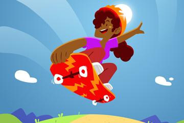 卡通玩滑板的女子矢量素材