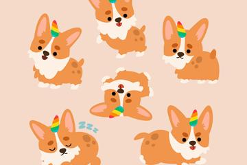6款可爱独角柯基犬设计矢量图
