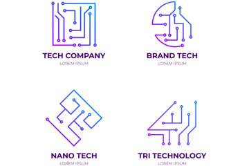 4款创意科技标志矢量素材