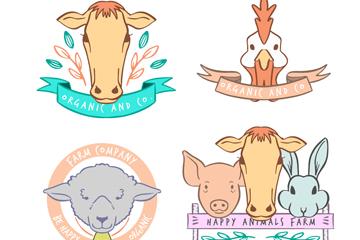 4款创意农场动物标签矢量素材