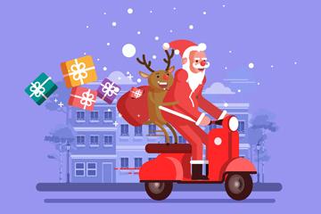 创意骑摩托车送礼物的圣诞老人矢