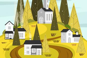 创意山上的房屋风景矢量素材