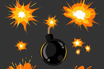 6款��意炸��爆炸效果矢量素材