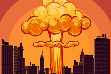 创意城市上空爆炸升起的蘑菇云矢量图
