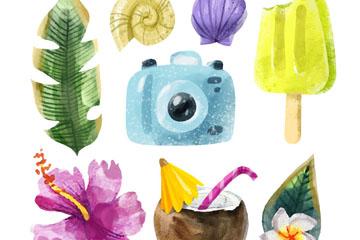 8款水彩绘夏季旅行元素矢量素材