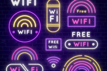 8款彩色无线网络标志矢量素材