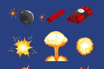 9款��意爆炸物和���F矢量素材