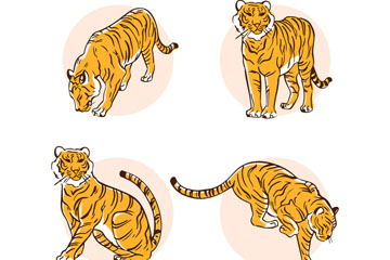 4款手绘老虎设计矢量素材