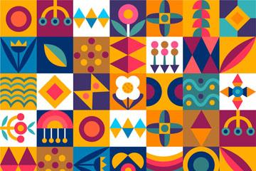 彩色图案方格背景矢量素材