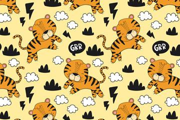 可爱老虎无缝背景矢量素材