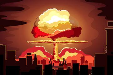 ��意城市爆炸蘑菇云矢量素材