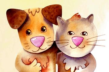 水彩绘友谊日猫狗矢量素材