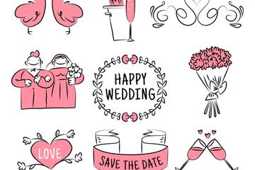 8款手绘粉色婚礼元素矢量素材