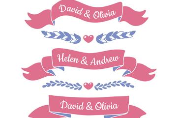 3款粉色婚礼条幅设计矢量素材