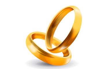 金色对戒设计矢量素材