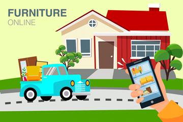 创意网上购买家具插画矢量素材
