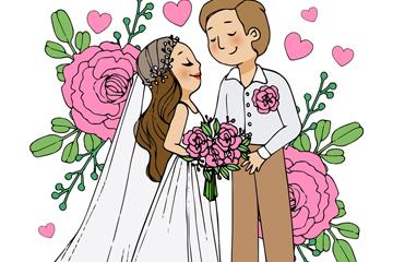 ��意婚�Y新人和粉玫瑰矢量素材