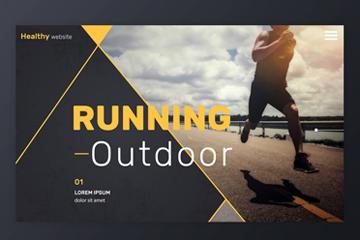 创意跑步人物体育网站登录界面矢