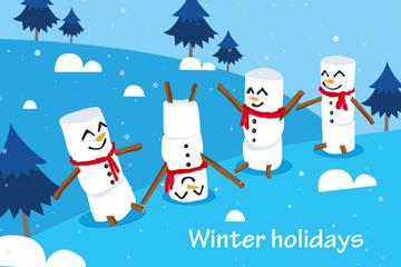 可�鄱�季假期雪人矢量素材