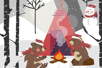��意冬季野�I的熊矢量素材