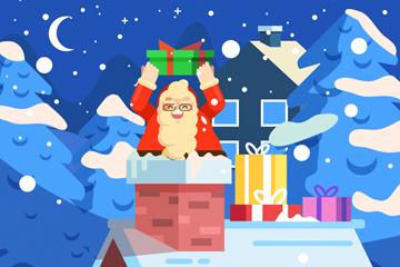 创意圣诞夜钻烟囱的圣诞老人矢量
