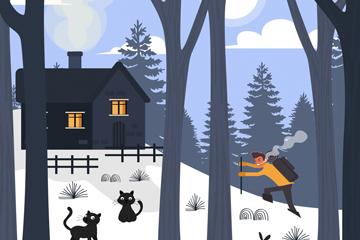 ��意冬季房屋和人物矢量素材