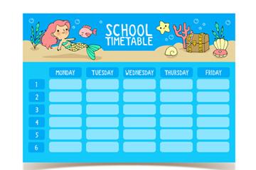 创意美人鱼校园课程表矢量素材