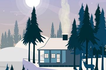 ��意冬季夜晚郊外房屋�L景矢量�D