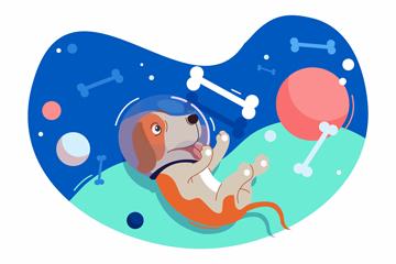 ��意遨游太空的狗矢量素材