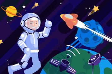 ��意太空中的宇航�T矢量素材