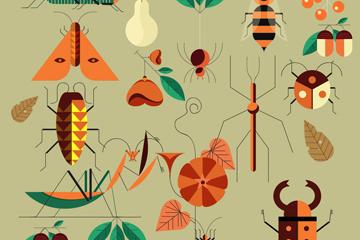 18款创意昆虫设计矢量素材