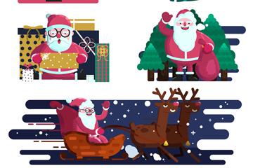 5组创意圣诞老人场景矢量素材