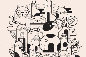 手绘18只猫咪设计矢量素材
