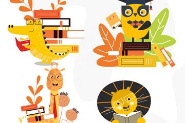 6款卡通黄色动物设计矢量图