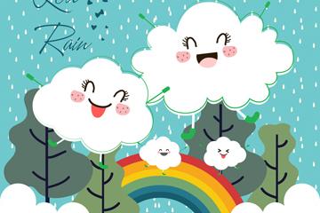 卡通云朵雨水彩虹矢量素材