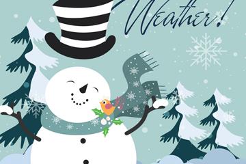 卡通冬季雪地雪人矢量素材